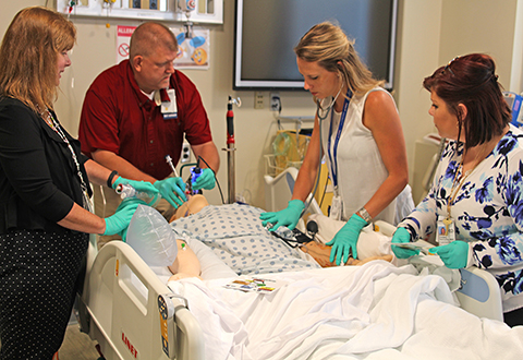 Clinical staff conducting a simulation exercise.