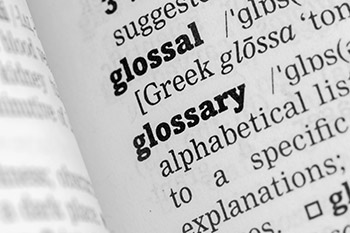 A glossary page in an opened book